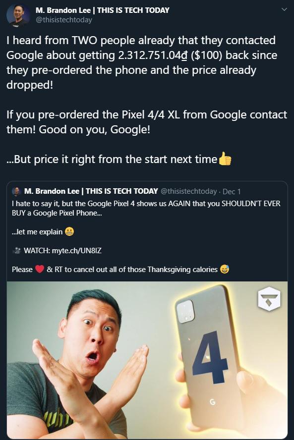 Google chơi chiêu giống Vsmart: hoàn tiền 100 USD để an ủi người dùng đã mua Pixel 4 với giá 799 USD - Ảnh 2.