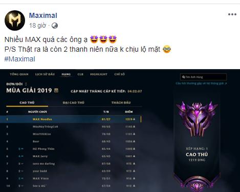 Bảng xếp hạng LMHT máy chủ Việt Nam: Team Maximal làm trùm, hơn 1500 người chơi đạt hạng Cao Thủ chỉ sau... một tuần - Ảnh 3.