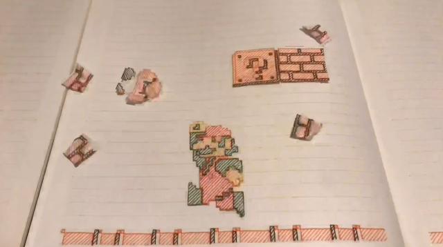 Super Mario Bros World 1-1 được tái tạo hoàn hảo trên... quyển vở của người hâm mộ Nhật Bản - Ảnh 4.