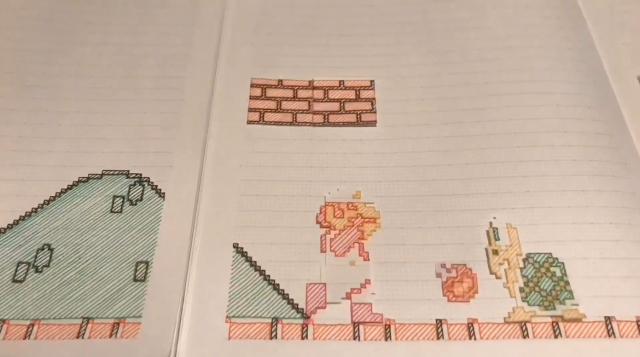 Super Mario Bros World 1-1 được tái tạo hoàn hảo trên... quyển vở của người hâm mộ Nhật Bản - Ảnh 5.