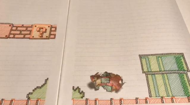 Super Mario Bros World 1-1 được tái tạo hoàn hảo trên... quyển vở của người hâm mộ Nhật Bản - Ảnh 10.