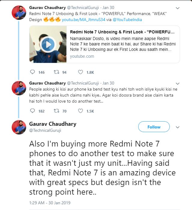 Bị sếp Xiaomi xỉa xói vì có mặt tại buổi ra mắt sản phẩm của Samsung, reviewer công nghệ tung clip bẻ cong Redmi Note 7 - Ảnh 2.