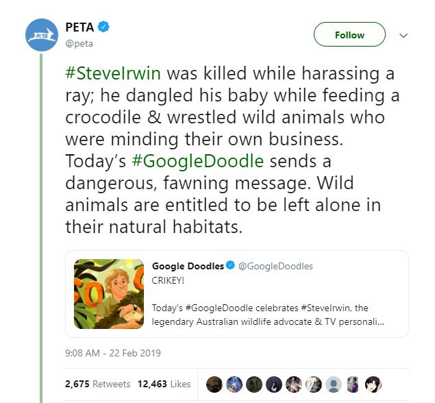 Peta lên án Google vì tưởng nhớ Steve Irwin: Anh ta đã chết trong khi quấy rối một con cá đuối gai độc - Ảnh 2.