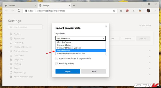 Cách đồng bộ bookmarks, mật khẩu,… và các dữ liệu trình duyệt khác vào Microsoft Edge mới - Ảnh 5.