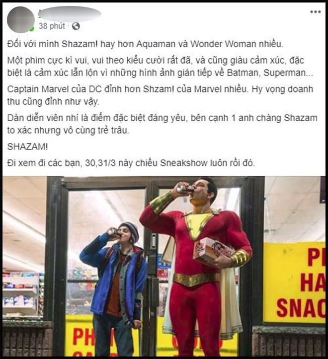 Khán giả Việt sau suất chiếu sớm phát cuồng vì Shazam: Phim siêu anh hùng lầy lội nhất từ trước đến nay - Ảnh 1.