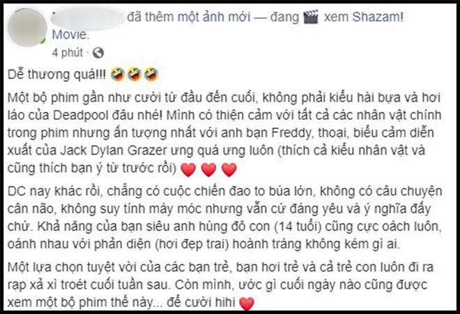 Khán giả Việt sau suất chiếu sớm phát cuồng vì Shazam: Phim siêu anh hùng lầy lội nhất từ trước đến nay - Ảnh 11.