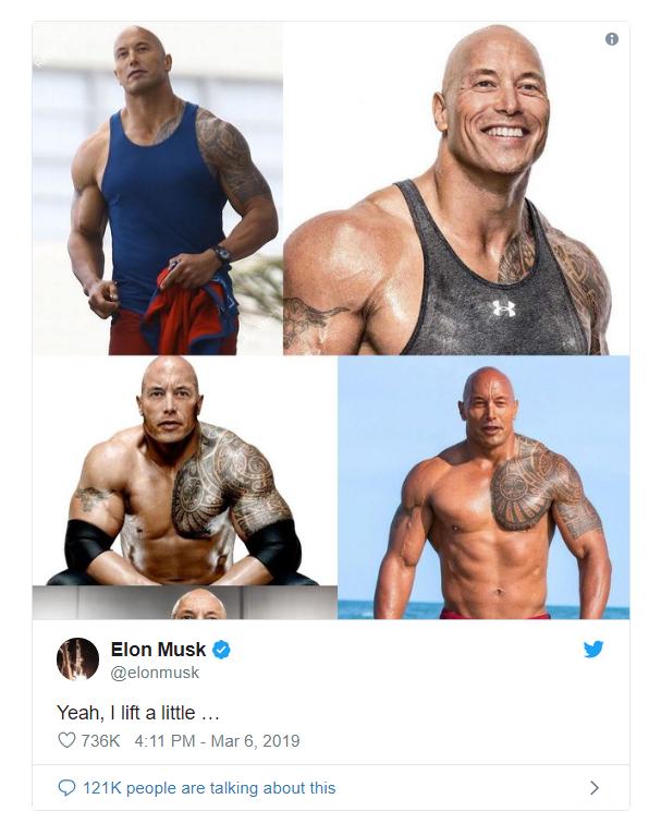 Dùng meme để trêu nhau, Elon Musk tự dưng được The Rock khen đẹp trai và bao ăn nhậu - Ảnh 1.