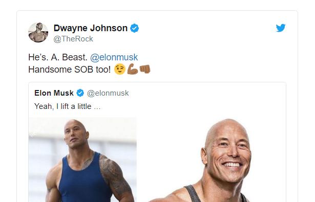 Dùng meme để trêu nhau, Elon Musk tự dưng được The Rock khen đẹp trai và bao ăn nhậu - Ảnh 3.