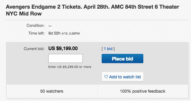 Sốc: 1 cặp vé công chiếu Avengers: Endgame đang có giá 215 triệu trên eBay - Ảnh 1.