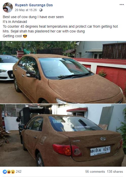 Ấn Độ: Bắt quả tang xe hơi được bọc kín bằng phân bò cho nó mát - Ảnh 1.