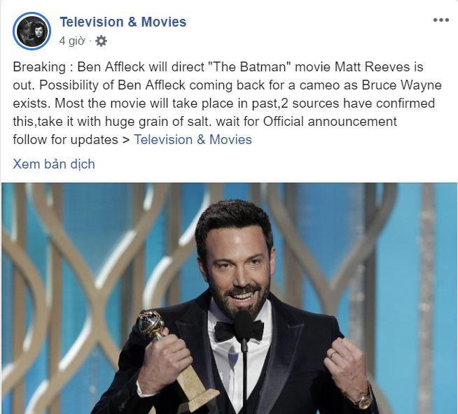 Cú lừa: Ben Affleck nghỉ vai BATMAN để nhảy sang làm đạo diễn BATMAN? - Ảnh 1.