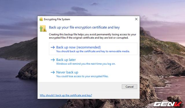 Cách sử dụng tính năng mã hóa EFS cho thư mục và tập tin trên Windows 10 May 2019 - Ảnh 9.