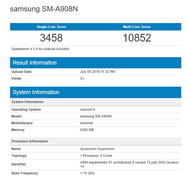 Samsung Galaxy A90 xuất hiện trên Geekbench, xác nhận dùng chip Snapdragon 855 - Ảnh 1.