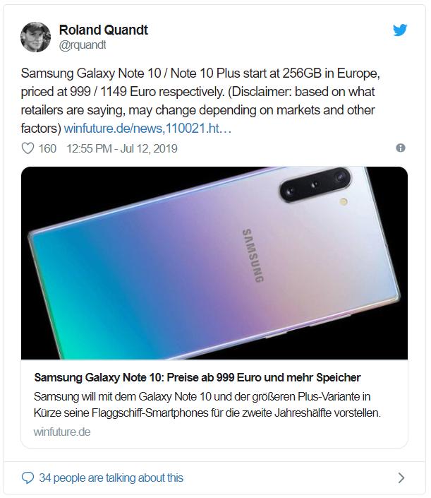 Rò rỉ giá bán lẻ của Galaxy Note 10 tại châu Âu: 1.126 USD cho phiên bản tiêu chuẩn, 1.296 USD cho phiên bản Note 10 Plus - Ảnh 1.