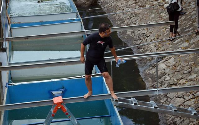 Cận cảnh chuyên gia Nhật Bản tắm nước sông Tô Lịch - Ảnh 1.