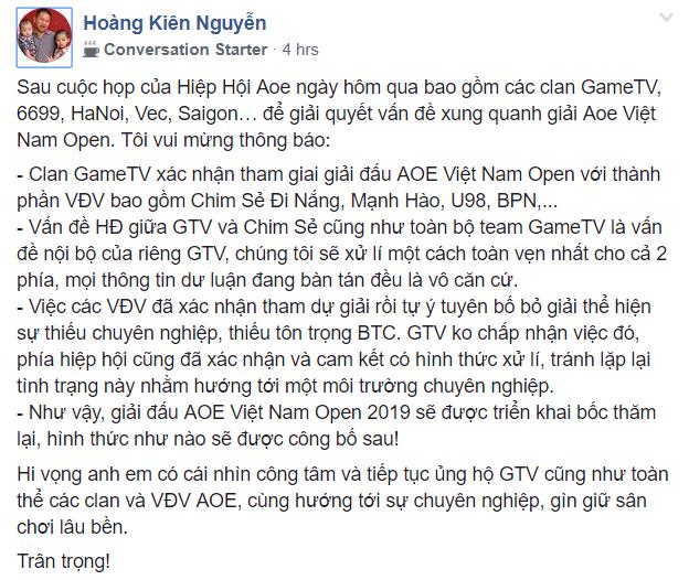 Giải đấu AoE Việt Nam Open được bốc thăm lại với sự tham gia của Chim Sẻ Đi Nắng trong màu áo GTV - Ảnh 1.