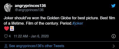 """Quả cầu vàng 2020: Fan """"cay cú"""" khi Joker để tuột giải vào tay một bộ phim còn chưa công chiếu - Ảnh 2."""