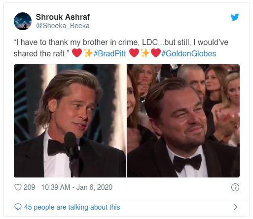 """Lên nhận giải Quả cầu vàng 2020, Brad Pitt cảm ơn bạn diễn DiCaprio bằng cách """"cà khịa"""" cái kết của Titanic - Ảnh 1."""