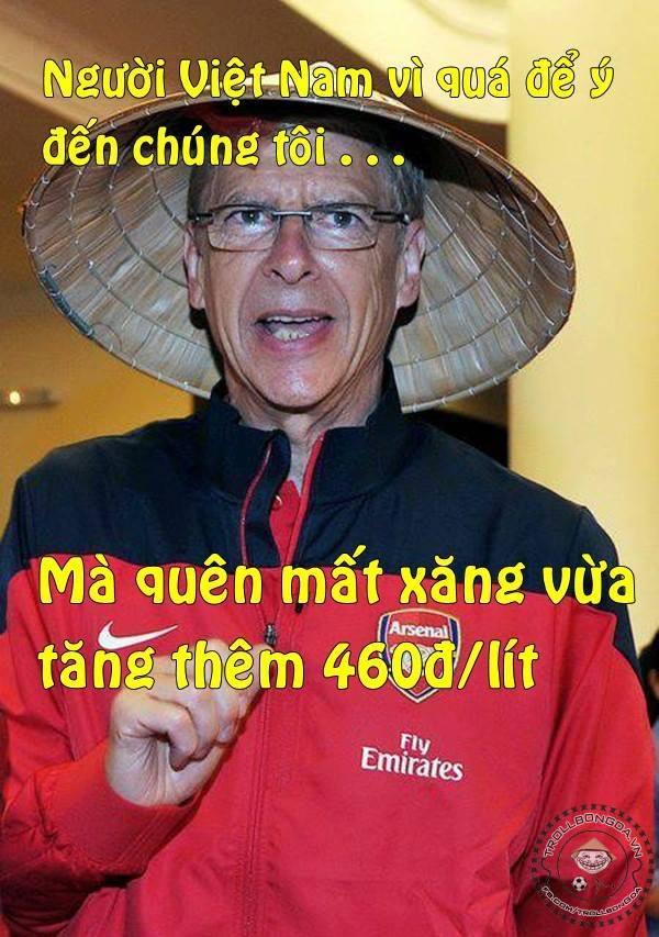 Ảnh chế xăng tăng giá vì VN ghi bàn vào lưới Arsenal 6