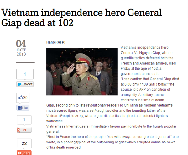 Thông tin về sự ra đi của Tướng Giáp tràn ngập trang chủ báo chí quốc tế 2
