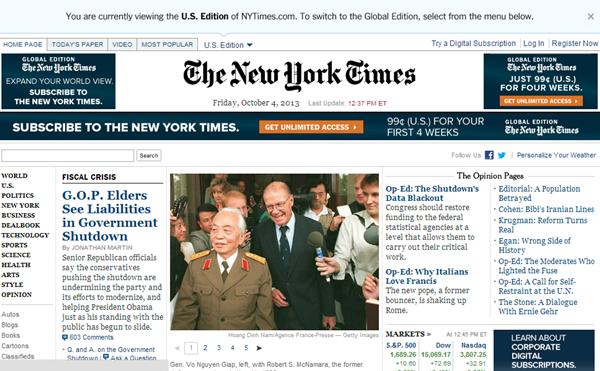 Thông tin về sự ra đi của Tướng Giáp tràn ngập trang chủ báo chí quốc tế 4