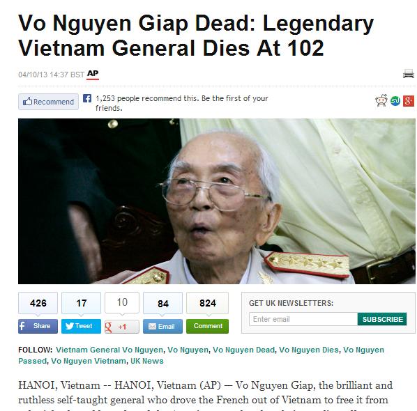 Thông tin về sự ra đi của Tướng Giáp tràn ngập trang chủ báo chí quốc tế 5