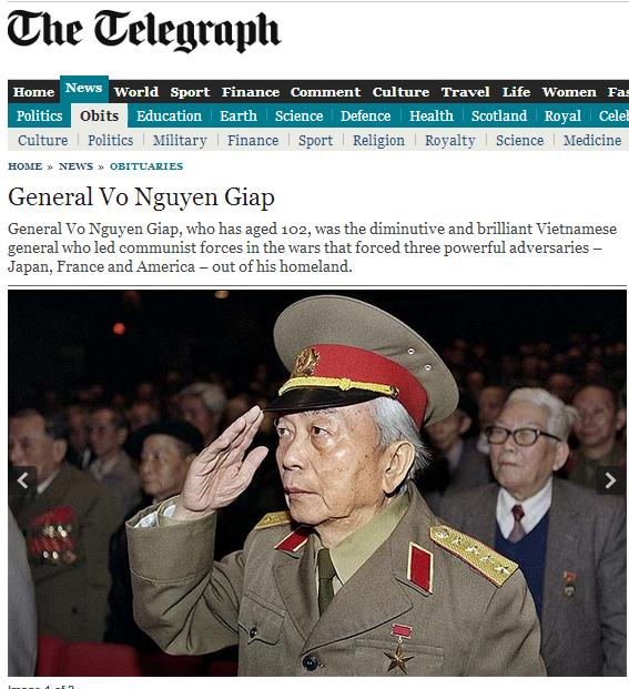 Thông tin về sự ra đi của Tướng Giáp tràn ngập trang chủ báo chí quốc tế 7