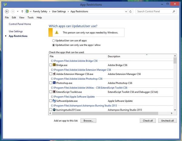 Sử dụng tính năng Family Safety để giới hạn người dùng trong Windows 8 12