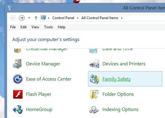 Sử dụng tính năng Family Safety để giới hạn người dùng trong Windows 8 4