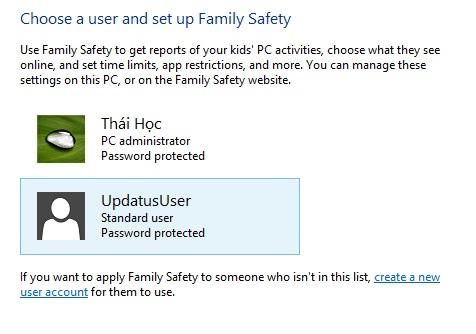 Sử dụng tính năng Family Safety để giới hạn người dùng trong Windows 8 5