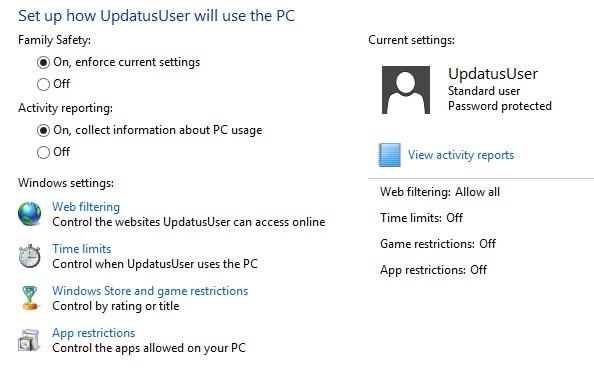 Sử dụng tính năng Family Safety để giới hạn người dùng trong Windows 8 6