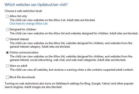 Sử dụng tính năng Family Safety để giới hạn người dùng trong Windows 8 8