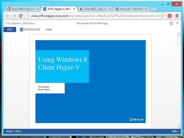 Xem các tài liệu Office trực tuyến thông qua dịch vụ của Microsoft 5