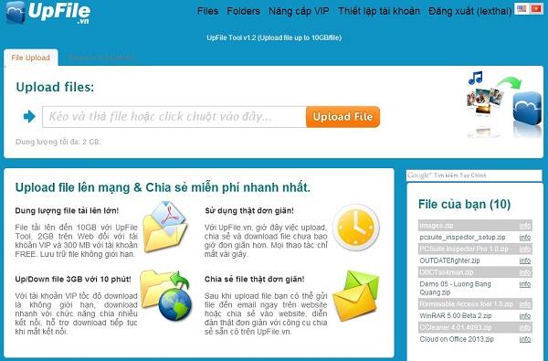 UpFile.vn - Dịch vụ upload và chia sẽ dữ liệu tốc độ cao 1