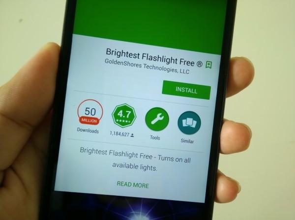 Ứng dụng Brightest Flashlight Free - Ảnh: Đ.Thiện