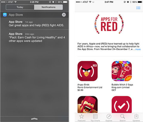 Apple sends out a push notification to promote the Apple App Store (RED) campaign