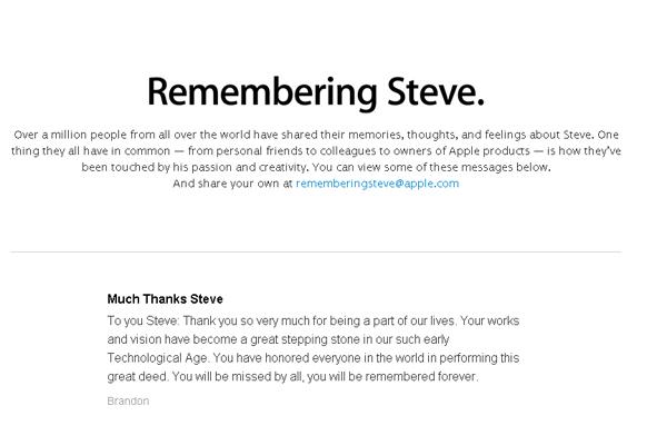 Trang web tưởng nhớ Steve Jobs trên website Apple.