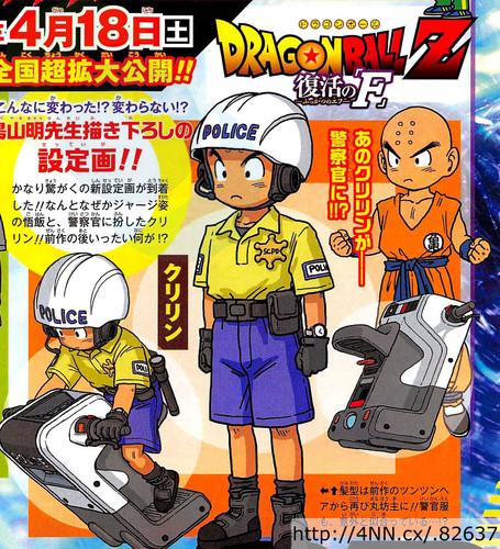 Tạo hình mới của Krillin với mái đầu cạo trọc và trang phục cảnh sát