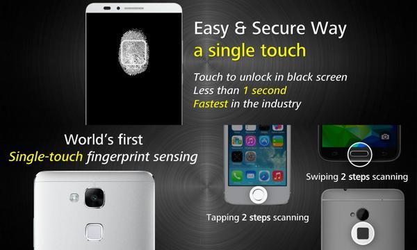 So sánh cảm biến vân tay giữa Ascend Mate 7, iPhone và Samsung Galaxy.