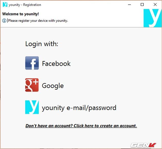 Đăng ký thiết bị, có thể sử dụng luôn tài khoản Facebook hoặc Google+.
