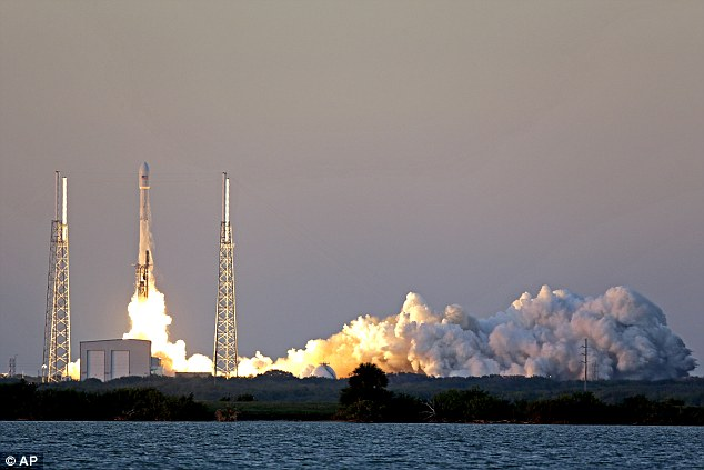 With three hours remaining in the countdown, SpaceX called off the radical landing test of the first-stage booster. It would have been just the second such experiment; last months try ended in flames when the booster slammed into the platform, fell over and exploded. Pictured is the launch in Florida