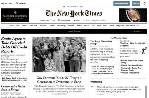 Chỉ trong 2 năm (2012 và 2013), tờ New York Times đã bị mất một nửa lượng truy cập trực tiếp vào trang chủ.
