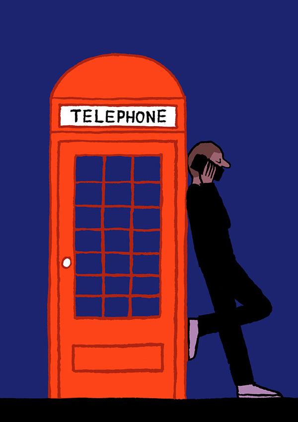 Đứng cạnh bốt điện thoại công cộng nhưng vẫn dùng điện thoại di động?