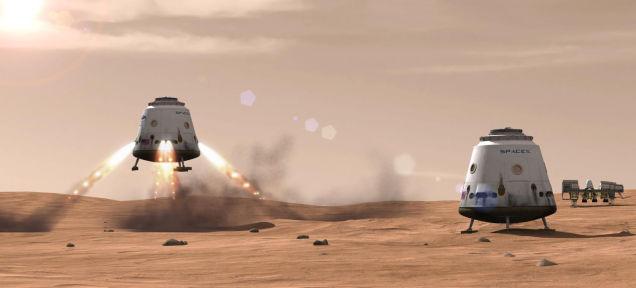 Hình ảnh mô tả những cuộc đổ bộ của con người lên Sao Hỏa, mặc dù vậy nó rất khó xảy ra.