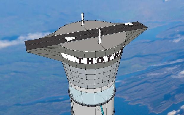 Tàu con thoi có thể cất cánh từ đường băng trên đỉnh tháp