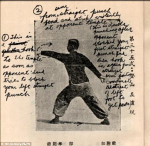 Bút tích bằng tiếng Anh của ông lưu lại trên các trang của bí kíp.