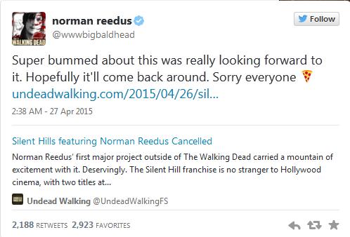 Đoạn status trên Twitter cá nhân của Norman Reedus