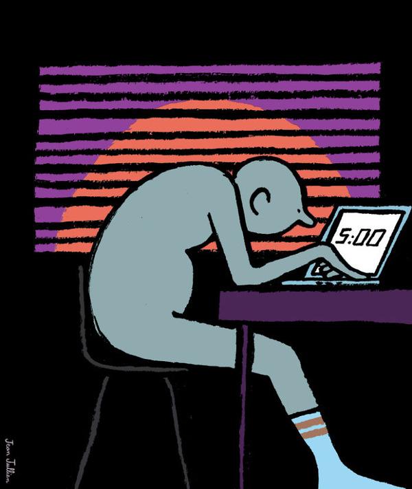 Bình minh rồi nhưng vẫn chưa đi ngủ vì còn bận dán mắt vào laptop.