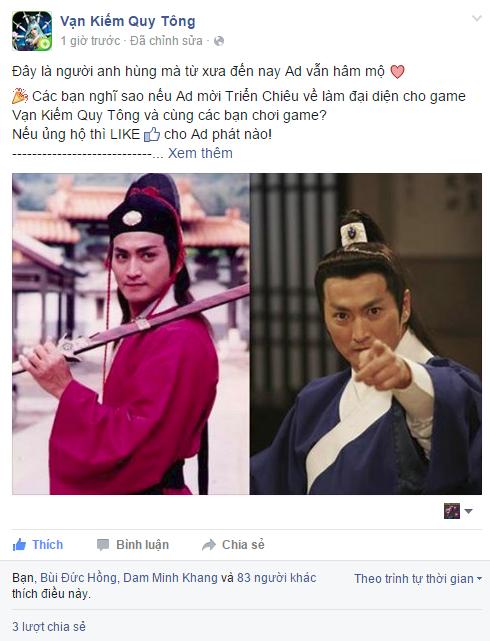 Fanpage chính thức của Vạn Kiếm Quy Tông đăng tải thông tin về việc mời Triển Chiêu Hà Gia Kính về làm gương mặt đại diện.