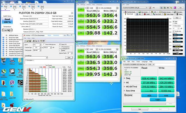 Sau khi cài hệ điều hành, dung lượng bị chiếm 21 GB. Từ giờ tôi sử dụng Plextor M6V 256 GB làm ổ boot windows, các phần mềm benchmark được cài và chạy ngay trên chính ổ này. Kết quả: Tốc độ vẫn không suy suyển so với lúc ổ còn trống.